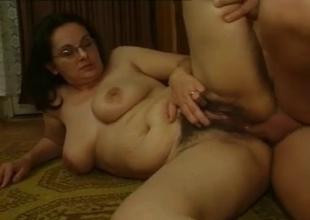 Chubby mommy with jiggly tits and bush