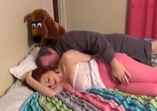 Dad sleeps with his alluring daughter