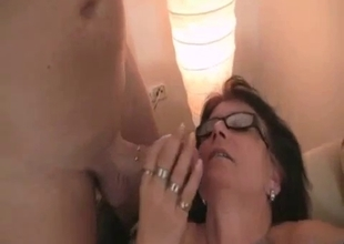 Mom gets pussy  eaten in red stockings