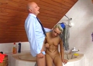 Daughter with piercing strokes grandpa's cock