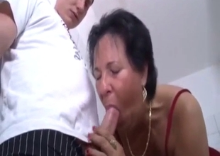 Sinister horny mature sees a cock