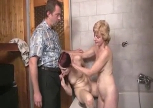 Daughter learns how to fuck with parents