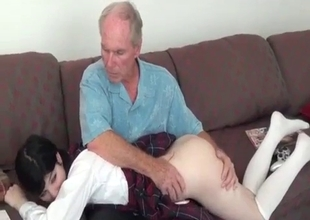 Strict dad loves slapping young ass