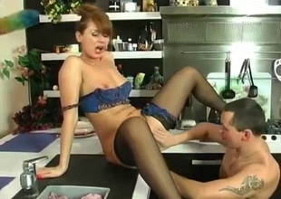 Vulgar mother in stockings wants cock