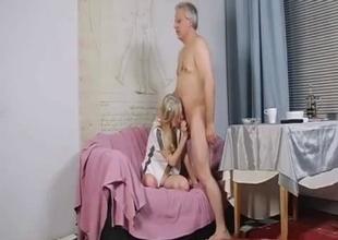 Blonde princess sucks her dad's dick
