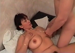 Amateur mother sucks and swallows