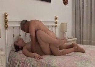 Chubby daughter rides her old man