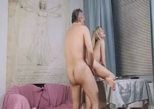 Lascivious blonde gets naughty with dad