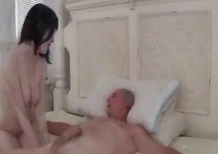 Daughter tied up daddy to suck