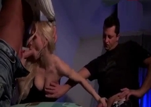 Blonde gets two cocks to please