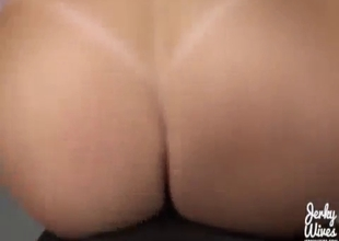 Busty and hot mom bounces her tits