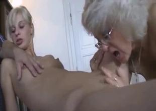 Radiant blonde got naked in family