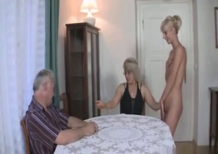Radiant blonde got naked in family