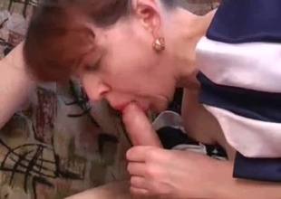 Filthy mature fucks drunk son