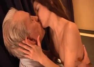 Teen lady loves her granddad