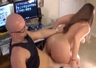 Sex on chair while watching porn