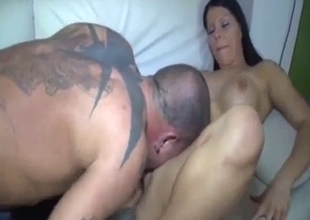 Having sex with busty  brunette