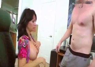 Big tit cock hungry step mother sucks