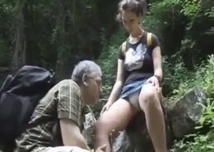 Tourist daughter fucks her dad in the forest