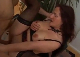 Hard sex with mother on the chair