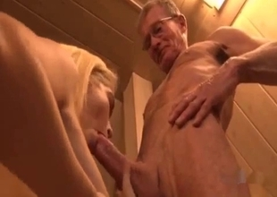 Teen with big tits with an old pa