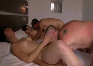 Two twins are getting fucked in a hotel