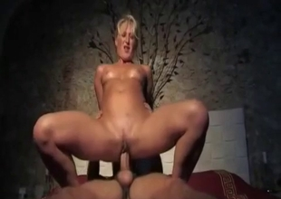 Mature slut split between two men
