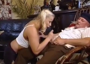 Big tit blonde caresses old dick