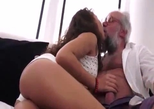 Youngster stepdaughter fucks an old father