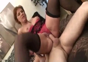 Big tit mother savors in incest with son