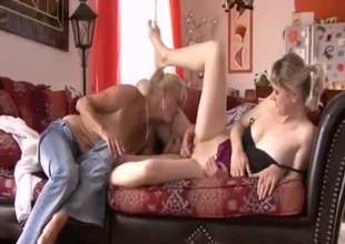 Amazing filthy in-family threesome