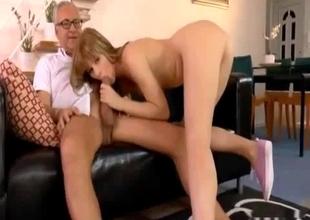 Daughter flashes her upskirt and sucks
