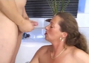 Small tit mature fucks with her big son