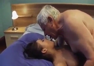 Teeny flexible babe rides grizzled grandpa