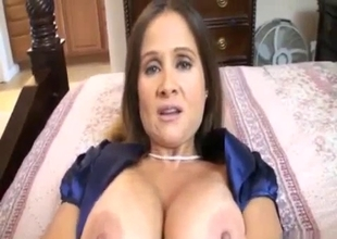 Busty mother gives a panty performance