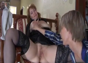 Stacked mature teaches son a blowjob