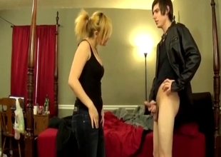 Sister spanks her sissy brother