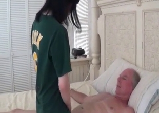 Sweet young girl plays with grandpa