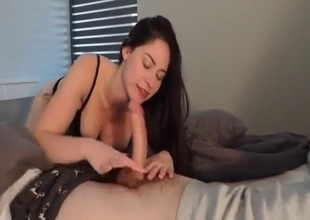 Athletic sister blows a dick in POV